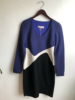 Women's Emilio Pucci Colorblock Stretch Ponte Longsleev Dress Size 42