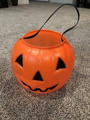 Vtg EMPIRE Halloween Pumpkin Treat Candy Bucket Pail Orange Plastic Blow Mold