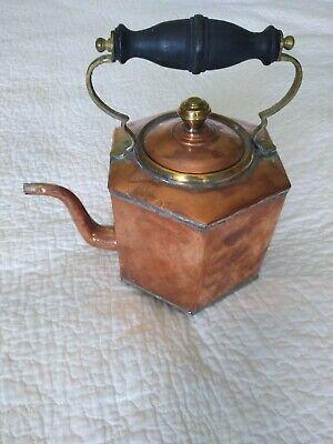 Vintage Antique Copper & Brass Kettle Teapot Unusual Shape