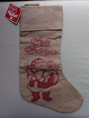 HSN Burlap Fabric Lined Gift Christmas Stocking Santa Claus Happy Holidays New