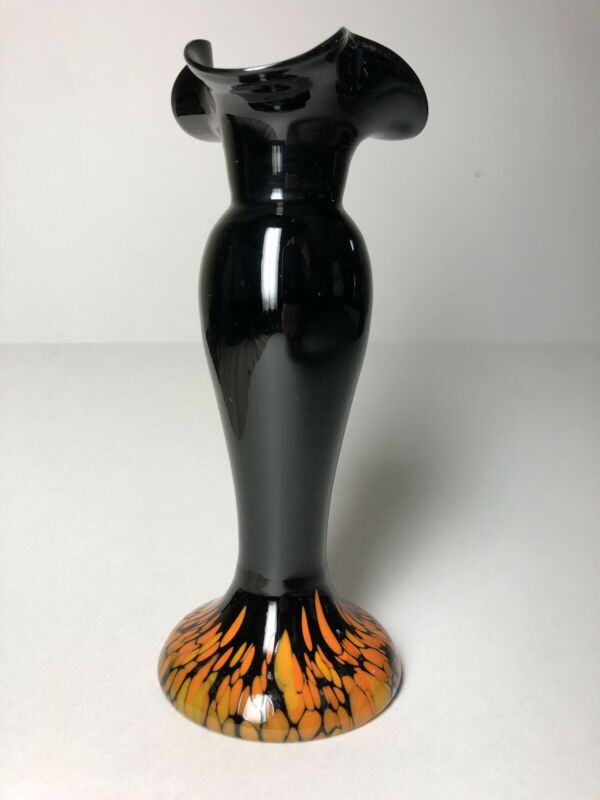 Art Deco Black Slag Glass Vase