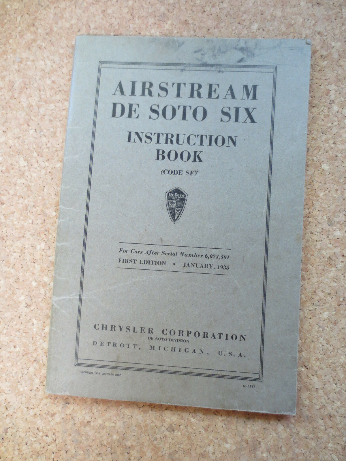 original 1935 airstream de soto six automobile owners manual rh extensivepivot top Product Auto Repair Manuals Product Factory Service Manuals