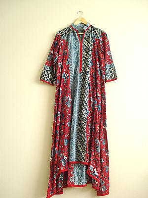 Indian Ethnic Kurta Women S / M Long Tunic Red Blue Cotton Floral Ikat India EUC