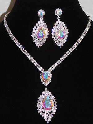 Iridescent Set - Silver Rhinestone Crystal AB Iridescent Party Necklace,  Earrings Set