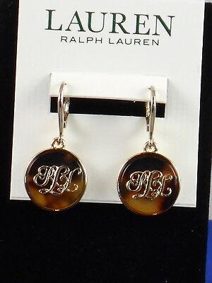 Ralph Lauren Gold Tortoise Inlay RLL Monogram Disc Drop Earrings 60496786-358