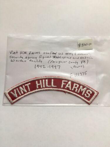 VINT HILL FARMS ARMY SIGNAL INTELLIGENCE & ELECTRONIC WARFARE FACILITY STRIP