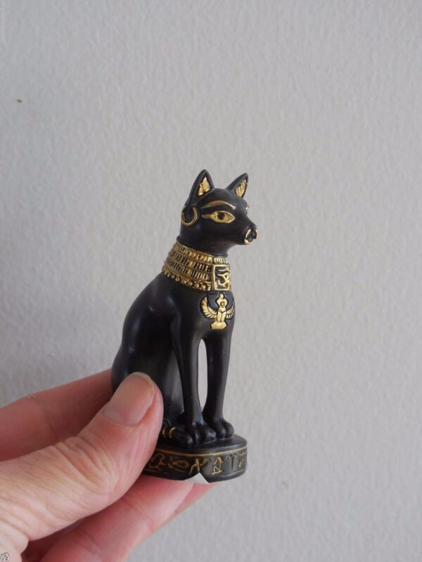 BAST BASTET CAT STATUE EGYPTIAN GODDESS  FIREFIGHTER PROTECTION NIB DONATION