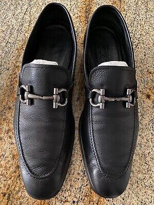 Salvatore Ferragamo Loafer Gancini Bit Black Pebbled Leather