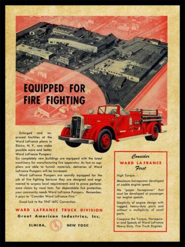 1947 Ward LaFrance Fire Trucks NEW Metal Sign: Aerial View of Elmira, NY Factory