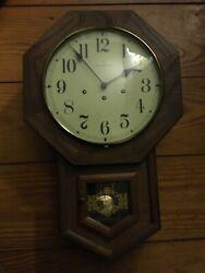 "Vintage Hamilton Regulator Wall Clock 25"" Tall Beautiful Chimes NEEDS REPAIR"
