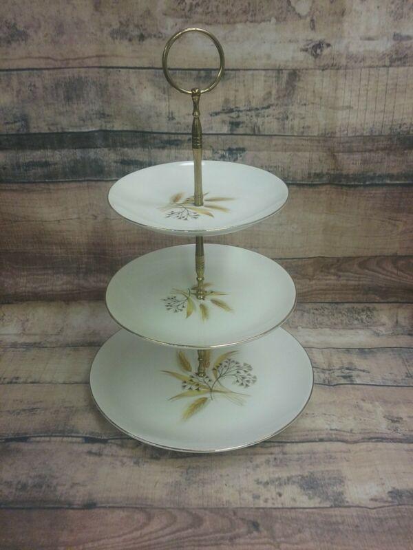 Vintage 3 Tier Cake Stand ~ Wheat Design