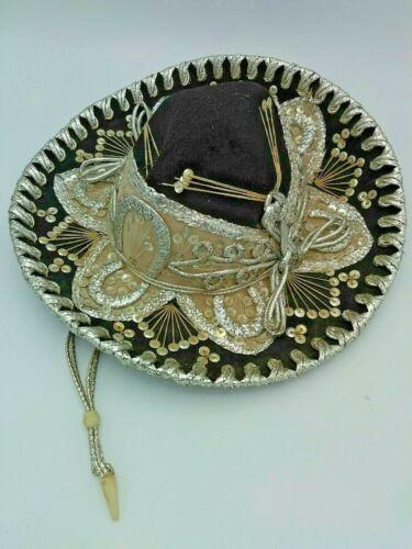 27.  Pigalle XXXXX 22 Sombrero Black with Decorations, Mexico Vintage