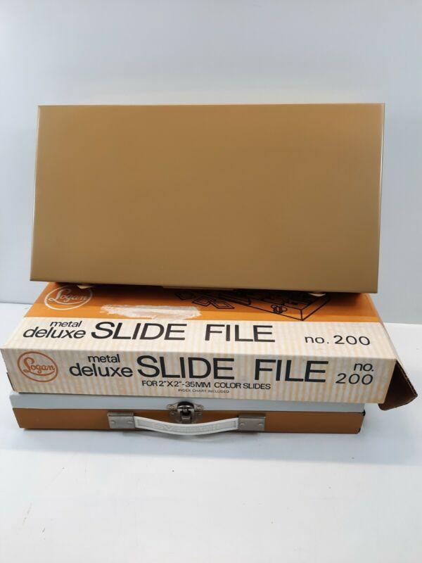 Vintage Logan Metal Deluxe Slide File Box #200 & Used smith vector 150 slide fil