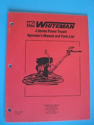 Mq Whiteman J-series Power Trowel Operators Manual And Parts List  1195