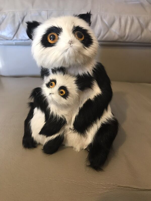 Vintage Panda Bear & Baby Real Hair Collectible