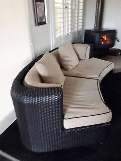 Wicker lounge curve, indoor / outdoor