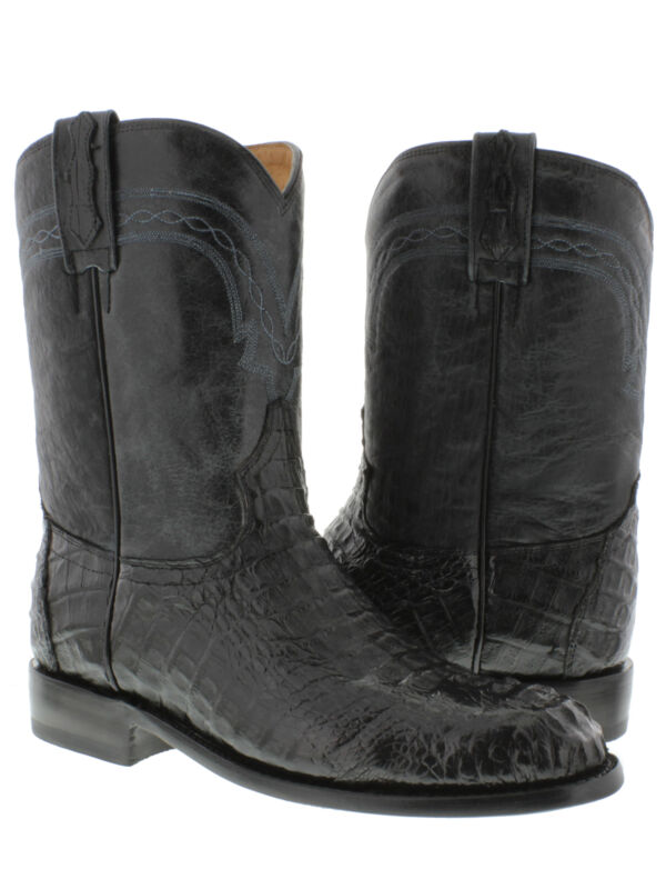 Mens, Black, Genuine, Crocodile, Skin, Western, Leather, Cowboy, Boots, Head, Cut, Roper