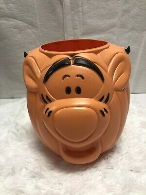 Winnie Pooh Tigger Halloween Candy Plastic Blow Mold Basket Bucket Disney Tiger