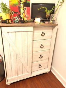 Rustic barn wood look chest with drawers