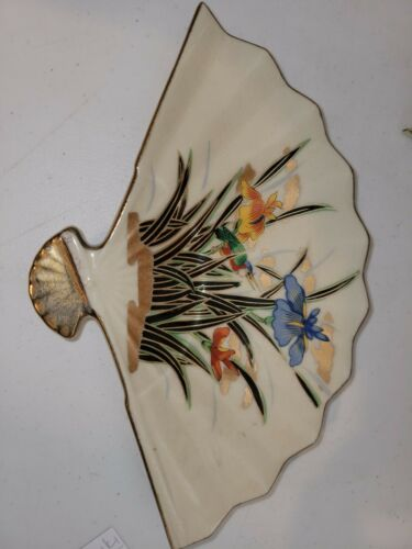 Vintage Fan Shaped Trinket Ring Dish Porcelain BIRD Gold Trim Interpur Japan