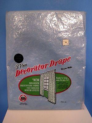 Vintage Maytex Mills Blue 3 Piece Decorator Drape Plastic Curtains - Plastic Curtains