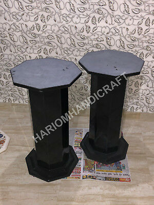 """28""""H 15"""" Dia Black Marble Base Leg Table Top Stand Handmade Decor E581(1), used for sale  Shipping to United States"""