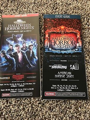 2 HHN Halloween Horror Nights Event Guide Maps INCLUDING 2018 # 28 2017 #27