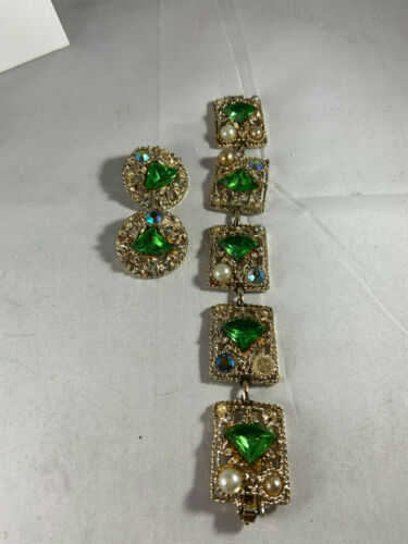 Vintage gold tone bracelet and matching earrings w/green stones,faux pearls