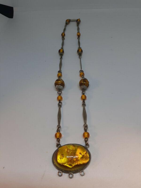 Antique Silver & Gold Foil Glass Bead Necklace
