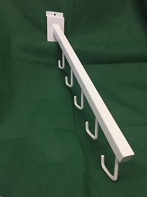 Lot 10 Pieces - 5 Hook Waterfall Faceout Grid Wall Slatwall White Pegs Retail