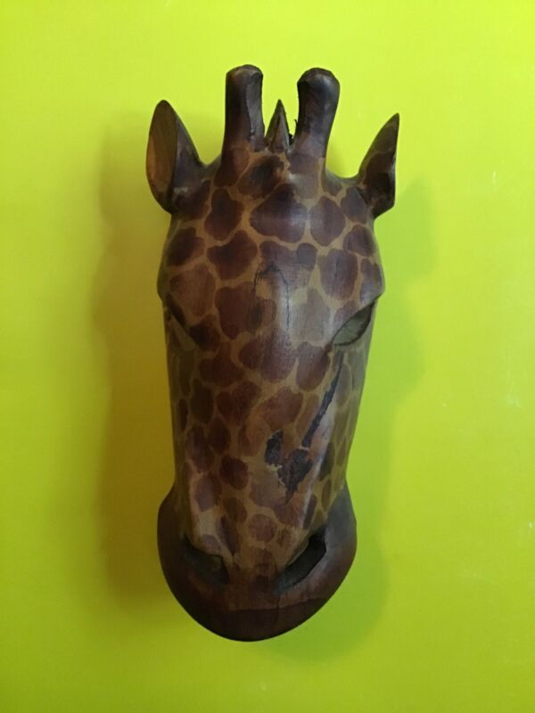 Hand Carved Giraffe Face Wall Hanging Wood Mask