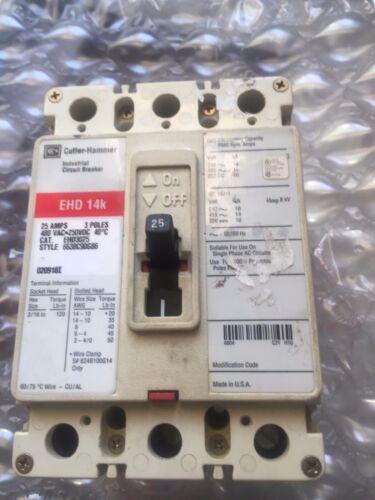 Eaton Cutler-Hammer EHD14K Breaker 25Amp 3 Pole Cat # EHD3025