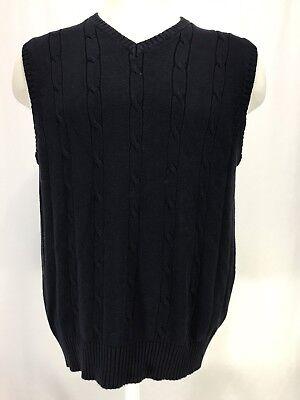Caribbean Joe 100% Cotton Navy Blue Sweater Vest Men's Size Large NWT