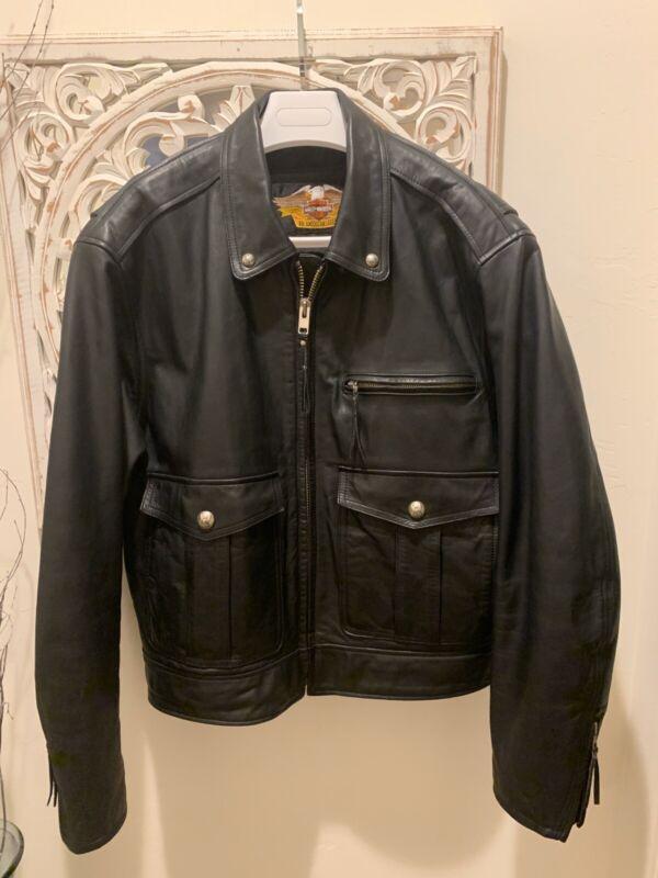 Black Harley Davidson Vintage Leather Bomber Jacket Size XL