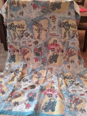 "VINTAGE TRANSFORMERS BLANKET/BED COVER 72""X93"""
