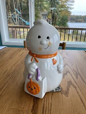 RARE VTG HALLMARK HALLOWEEN CERAMIC GHOST COOKIE JAR CANDY TREAT BAG PUMPKIN