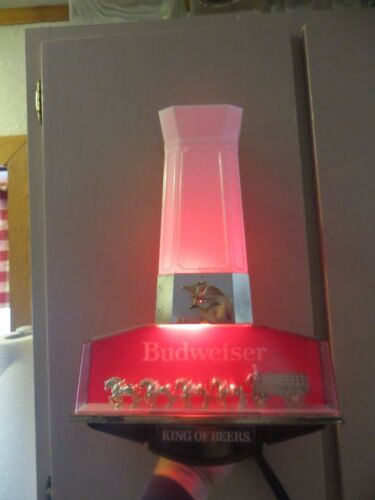 lighted working  Budweiser King of Beers clydesdale horses advertising bar sign