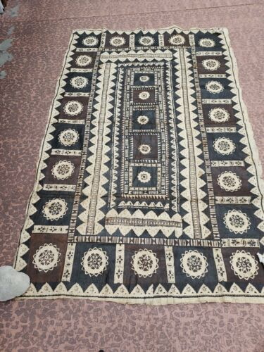 Large Vintage South Pacific Geometric Tapa Cloth Tonga Fiji Native Art BIN BO FS