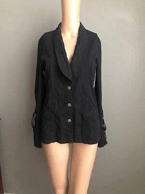 New! XCVI $138 Ruched Shirred Front Stretch Panel Lace-Up Sleeve Jacket Top Sz M