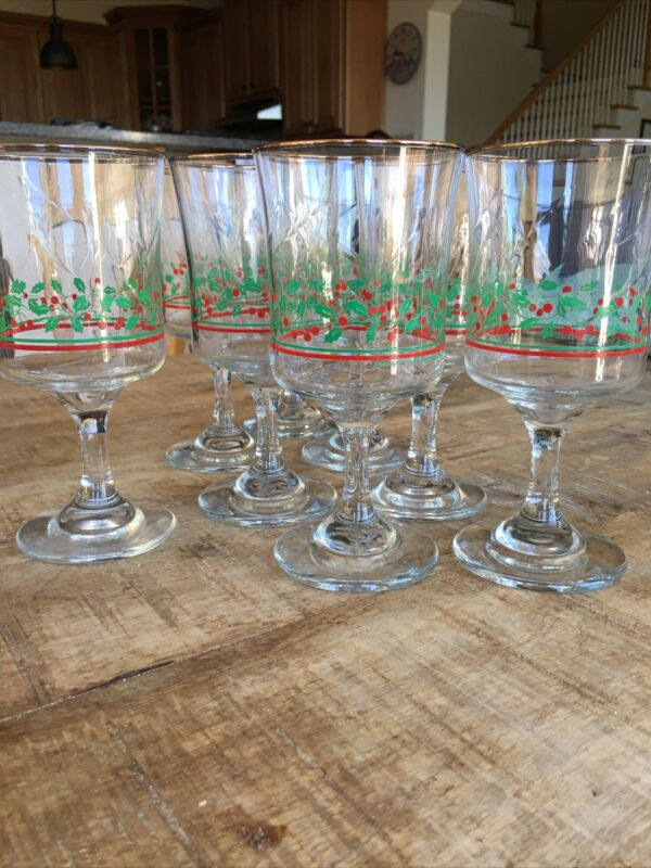 Arbys Christmas Holly Berry Gold Rimmed Wine/Water Stem Glasses 1987 Set of 8