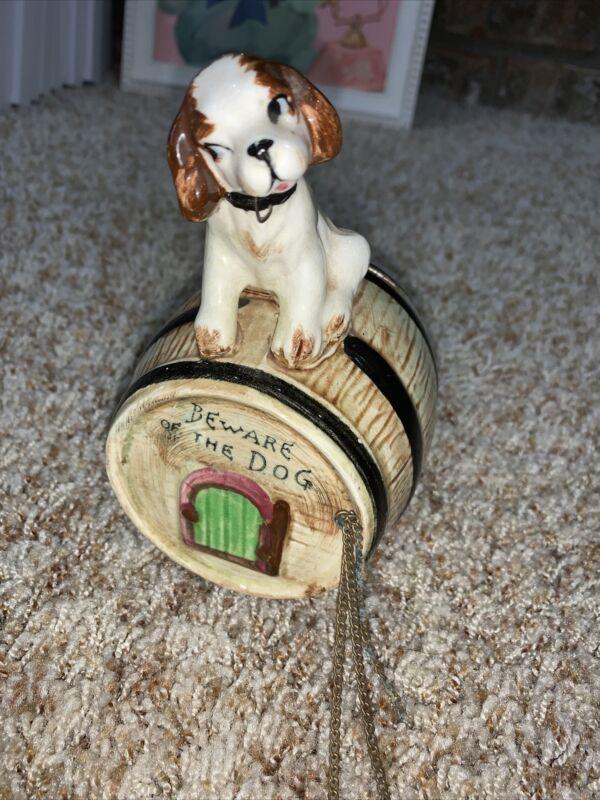 "Vintage Chase  ""Beware of the Dog"" Porcelain Bank Guarding Whiskey Barrel"
