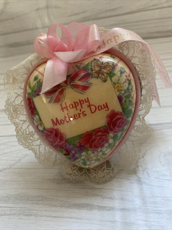 MOTHER'S DAY VINTAGE FELT LACE HEART PINK STANDING DECORATIVE MUSIC BOX