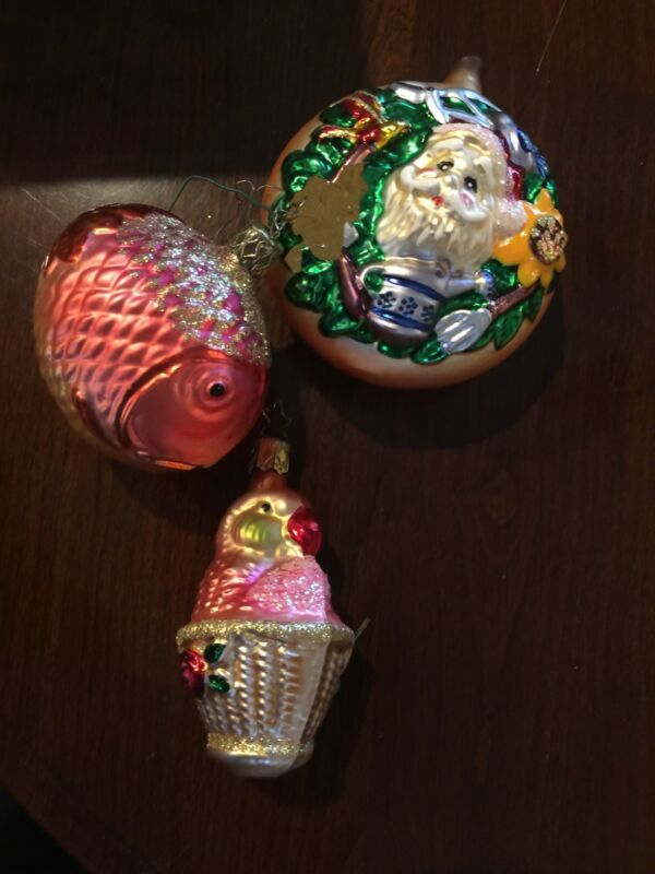 Fish, Parrot, Gardening Santa, Old World Christmas Inge, Orange