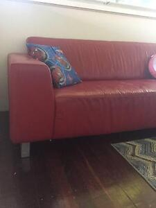 Red leather 3 seat sofa Myaree Melville Area Preview
