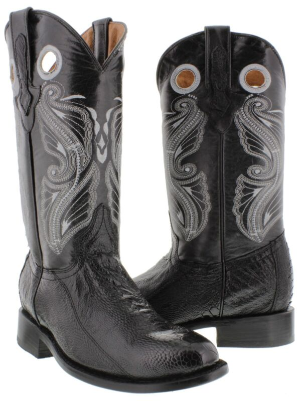 Mens, El, Presidente, Black, Smooth, Real, Ostrich, Skin, Leather, Cowboy, Boots, Roper