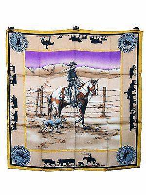 Ltd. Anniversary Print Paint Tan Western  Wild Rag Buckaroo Bandana