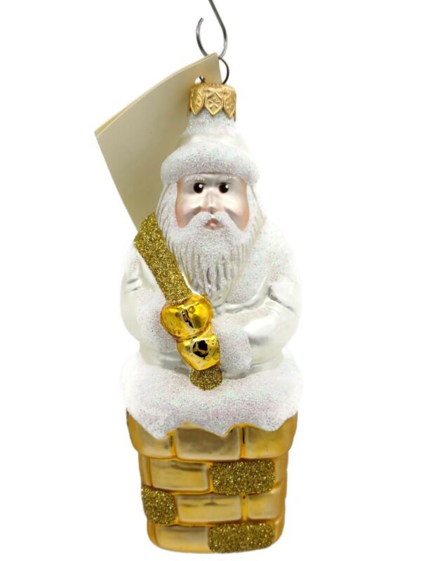 Patricia Breen Here Comes Santa Claus Pearl Gold Sack Christmas Holiday Ornament