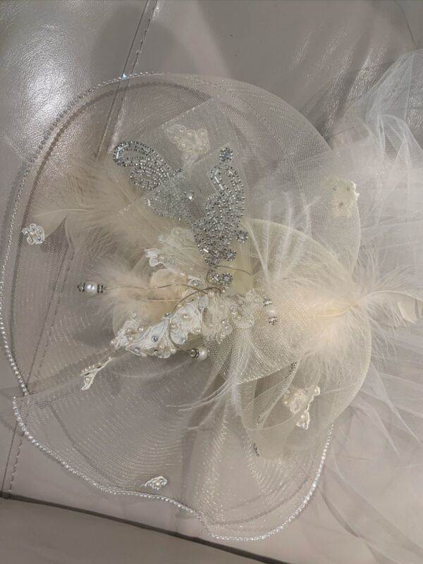 Vintage Wedding Head Piece With Feather And Crystals