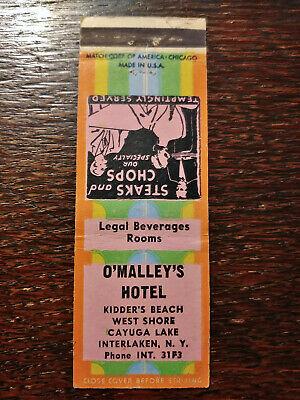 Vintage Matchcover: O'Malley's Hotel, Kidder's Beach, Interlaken, NY 11