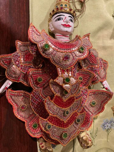 """Thailand Marionette Puppet Handmade Stringed Bejeweled 14"""" X 12"""" FREE USA SHIP"""